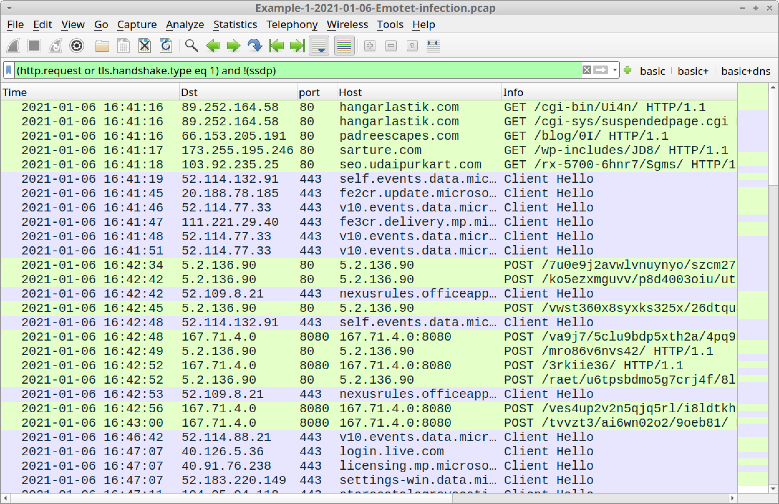 Figure 6. Our first pcap in this tutorial filtered in Wireshark.