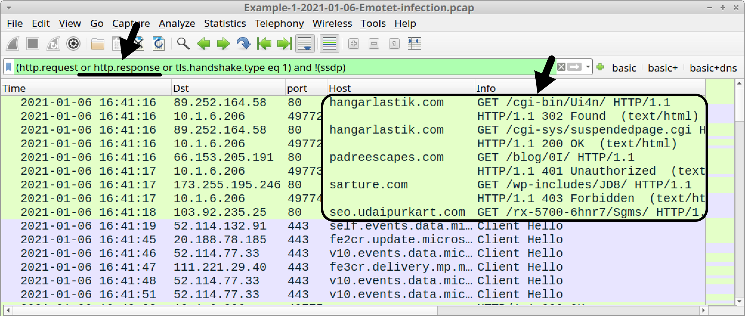 Figure 7. Adding HTTP responses to the Wireshark display filter.