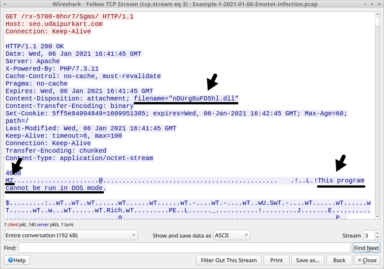 図9 seo.udaipurkart[.]comからDLLファイルが返されたことを示すインジケータ