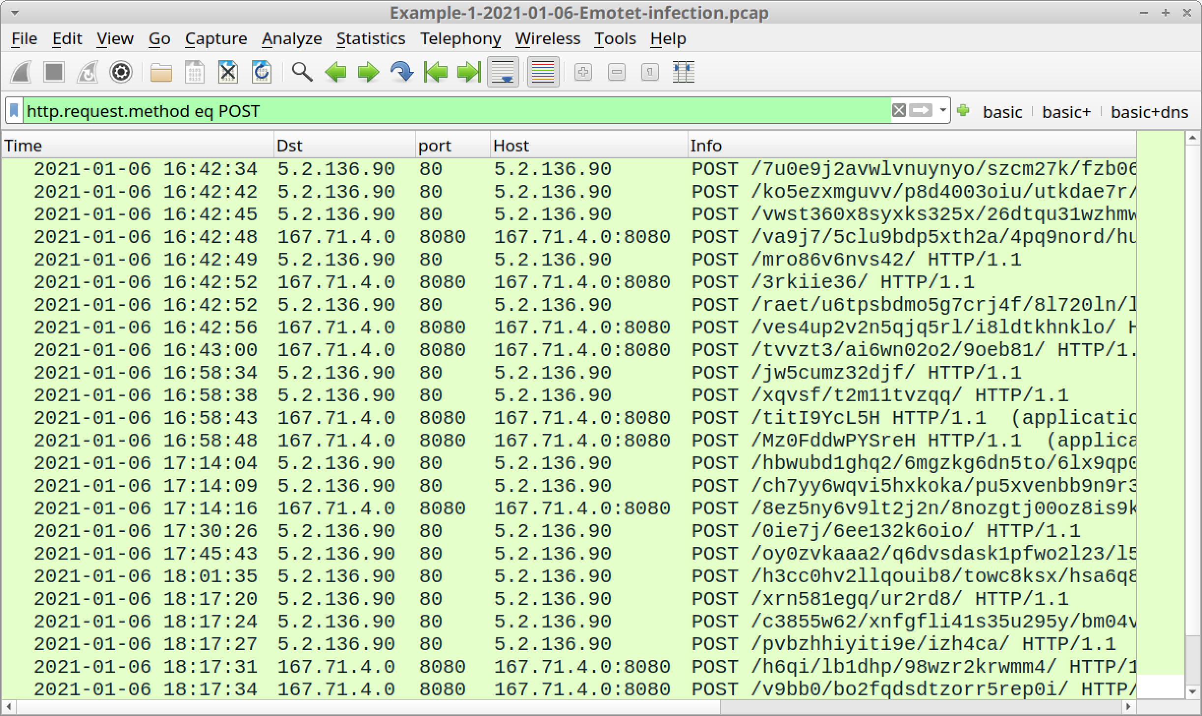 Figure 11. Filtering for HTTP POST requests in our first pcap.