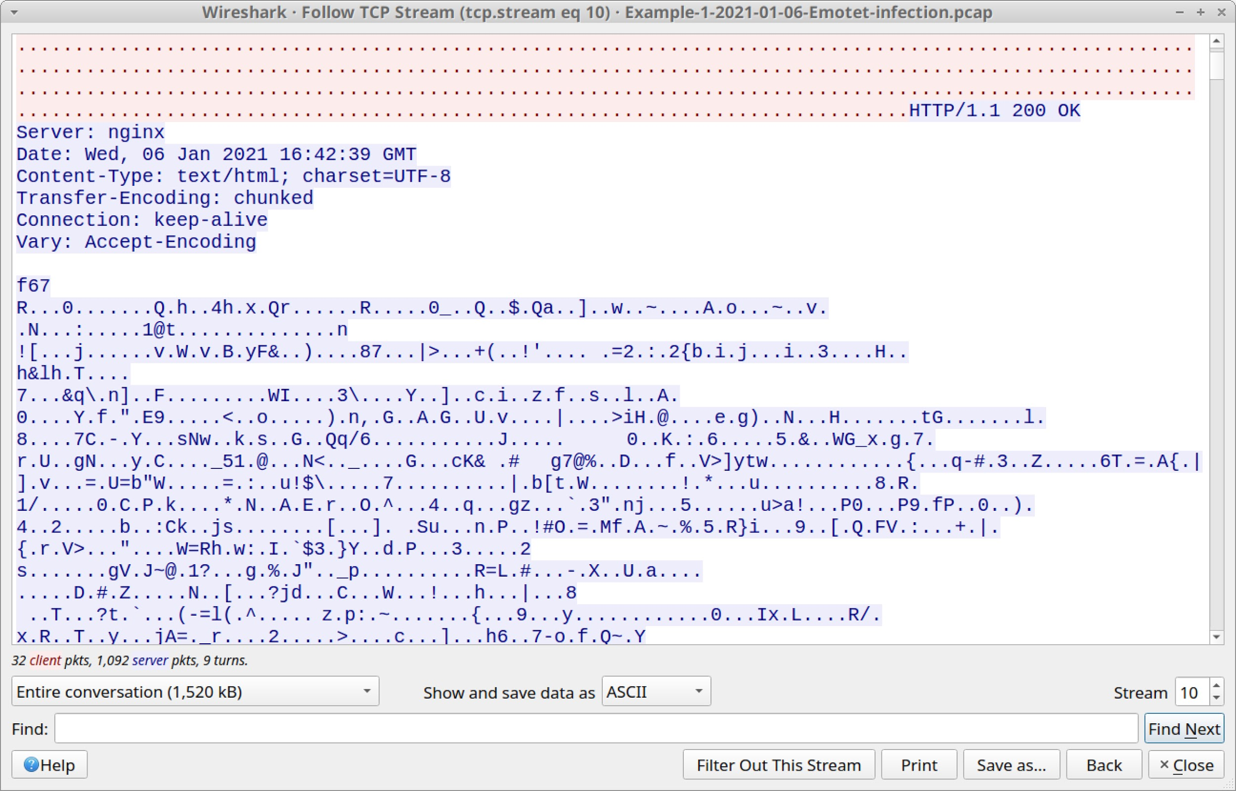 Figure 13. Encoded data returned from the server in response to the HTTP POST request.