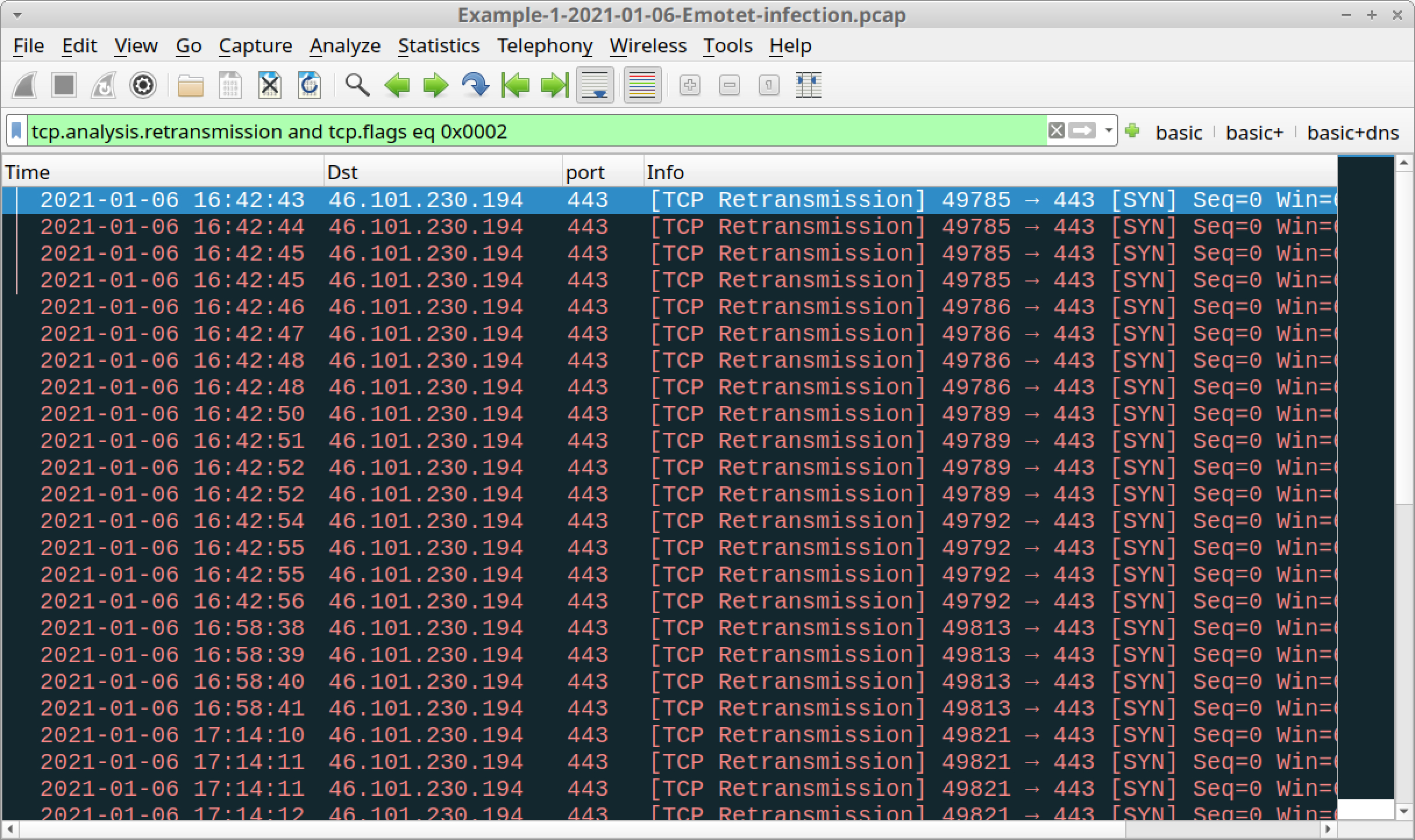Figure 16. Filtering on retransmissions of TCP SYN segments in Wireshark.