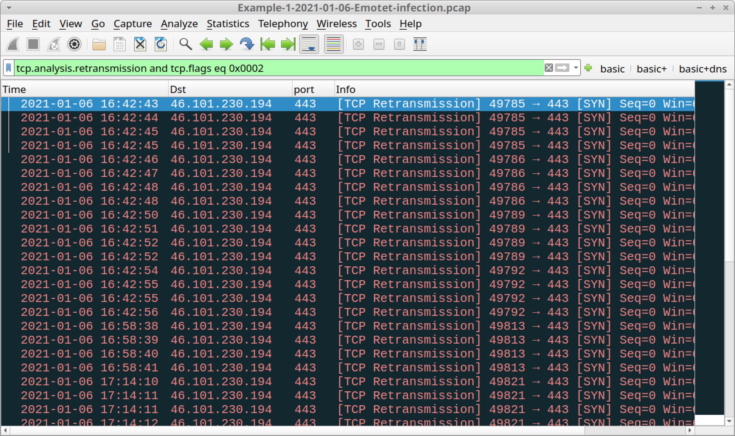 図16 Retransmission (再送信) のTCP SYNセグメントをWiresharkでフィルタリング