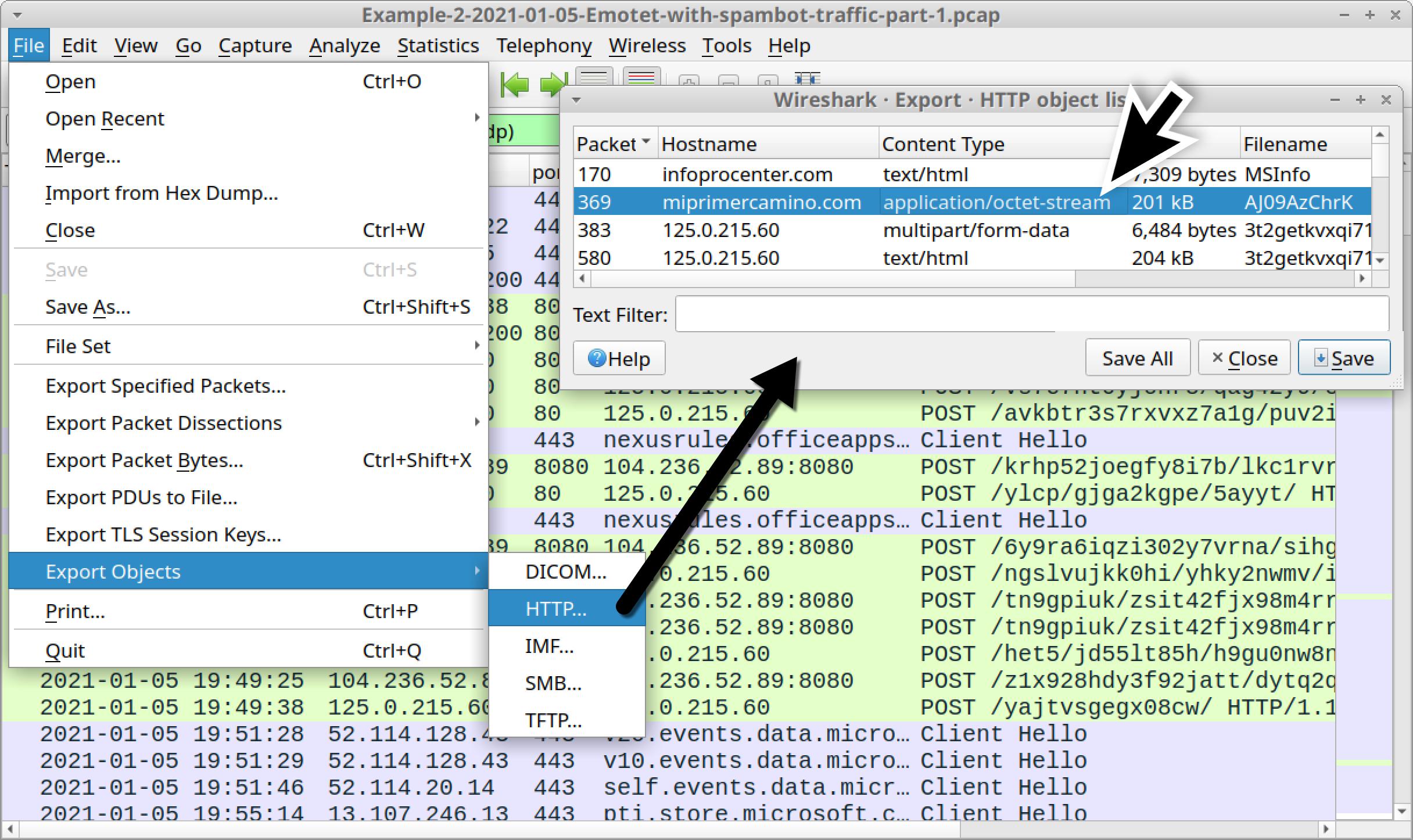 図18 pcapからEmotet DLLをエクスポートする