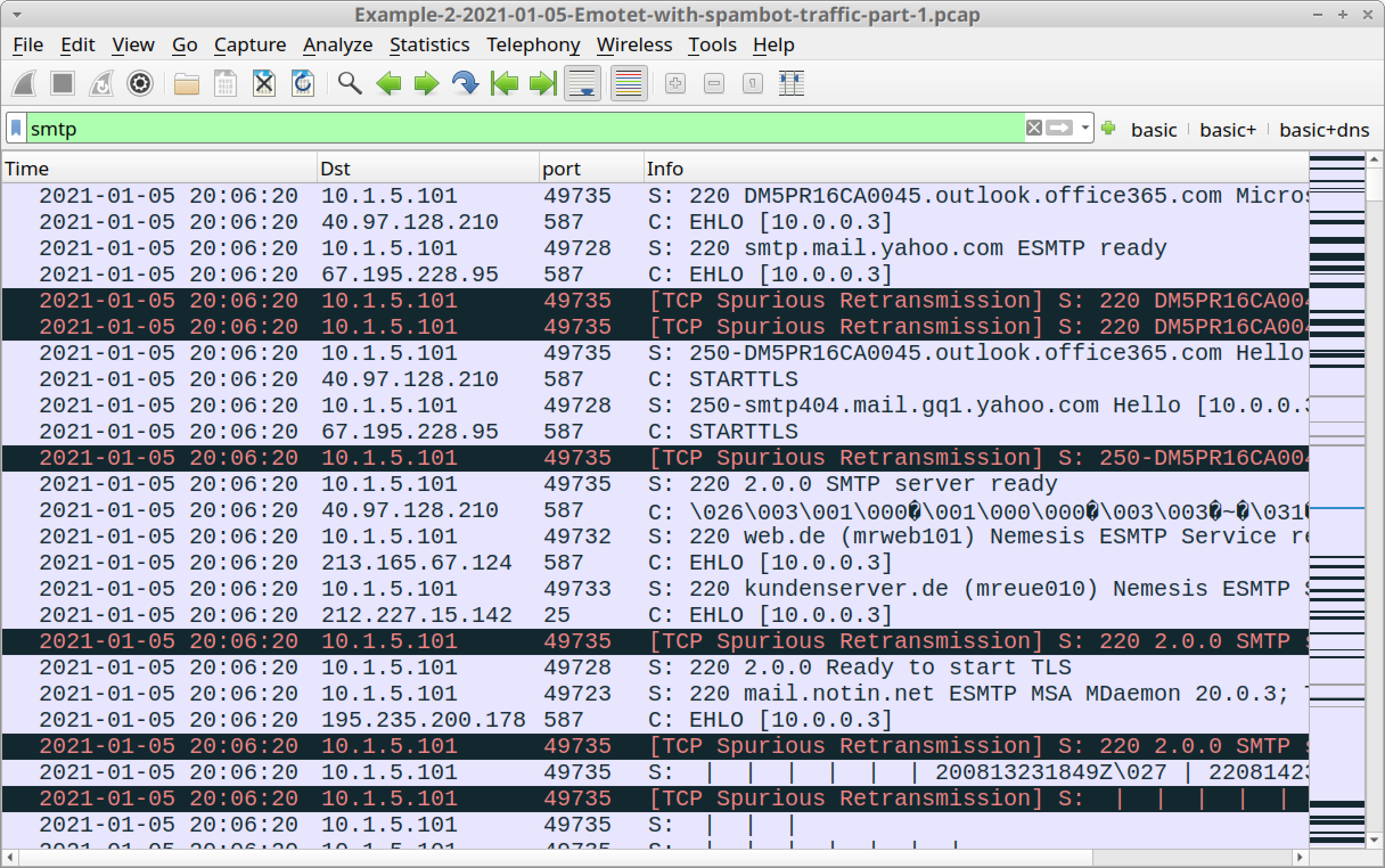 Figure 20. Filtering for SMTP traffic in our second pcap.