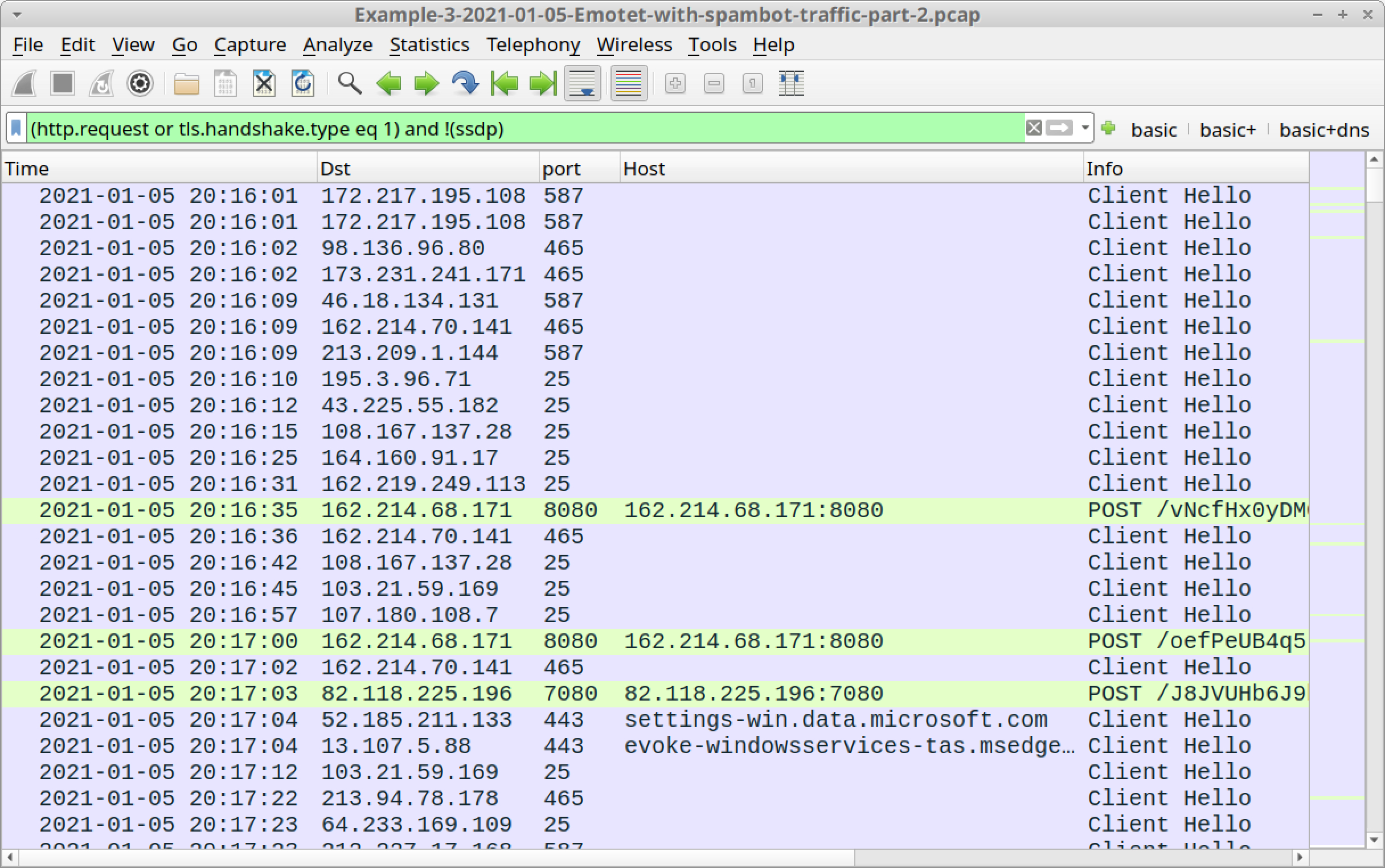 Figure 21. Traffic from the third pcap filtered in Wireshark using our basic web filter.