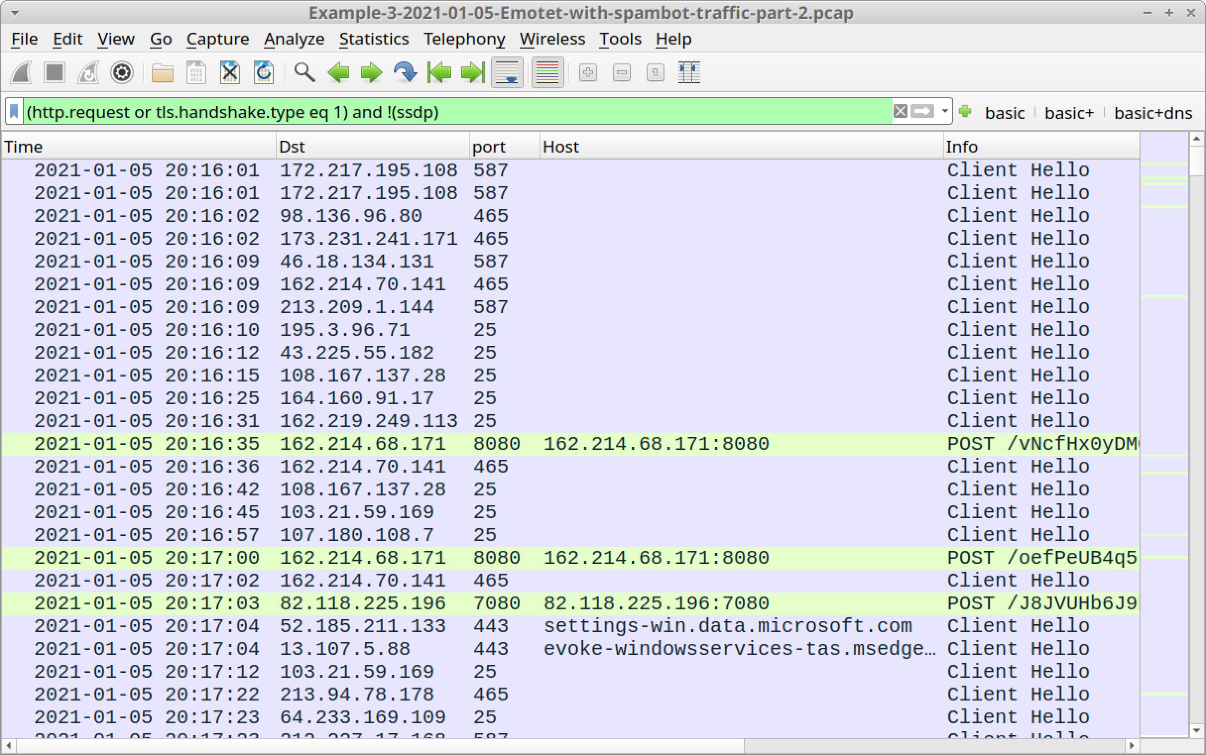 図21 Wiresharkで3つ目のpcapのトラフィックを開いて「basic」Webフィルタでフィルタリングした内容