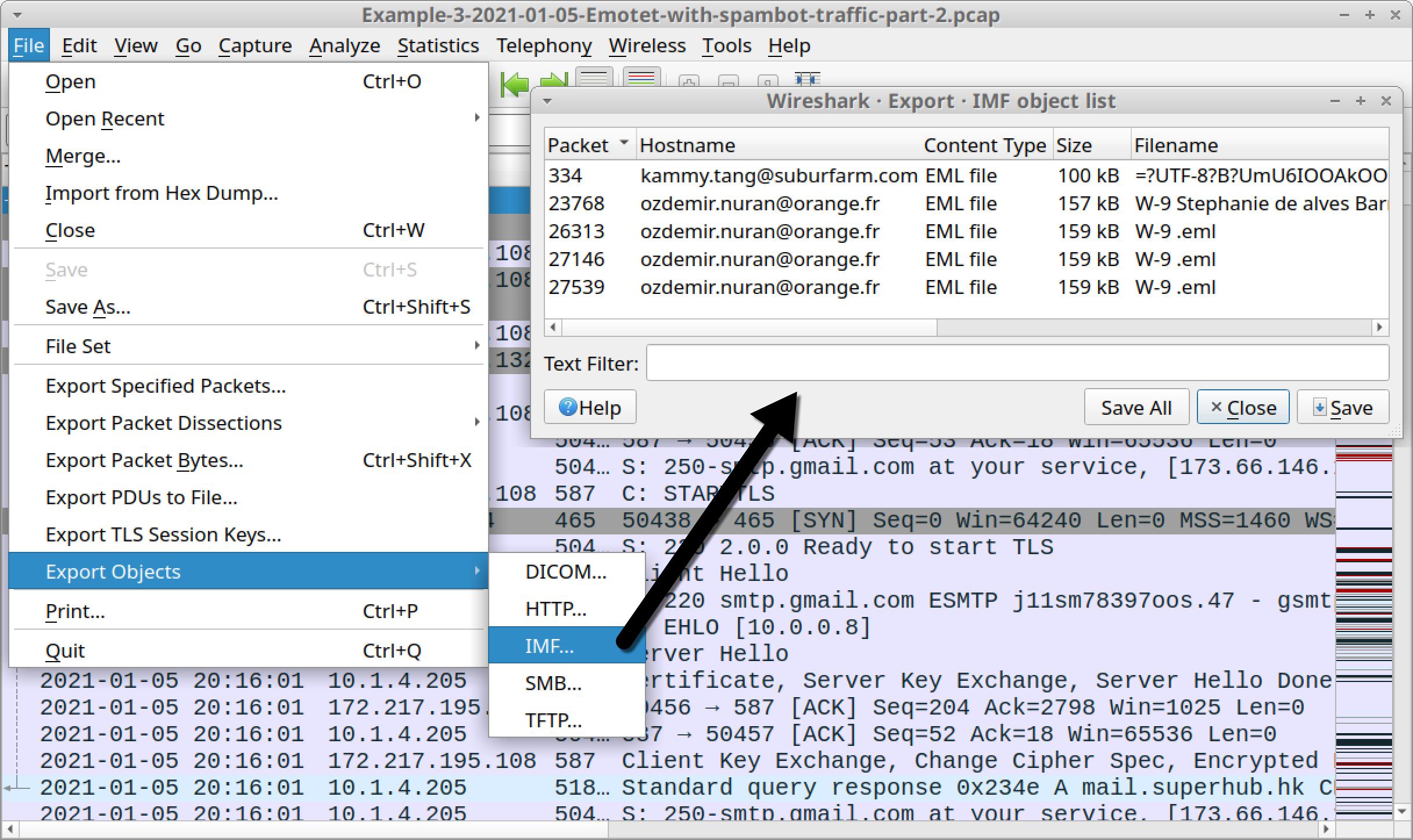 図24 3つ目のpcapからEmotetマルスパムをエクスポートする