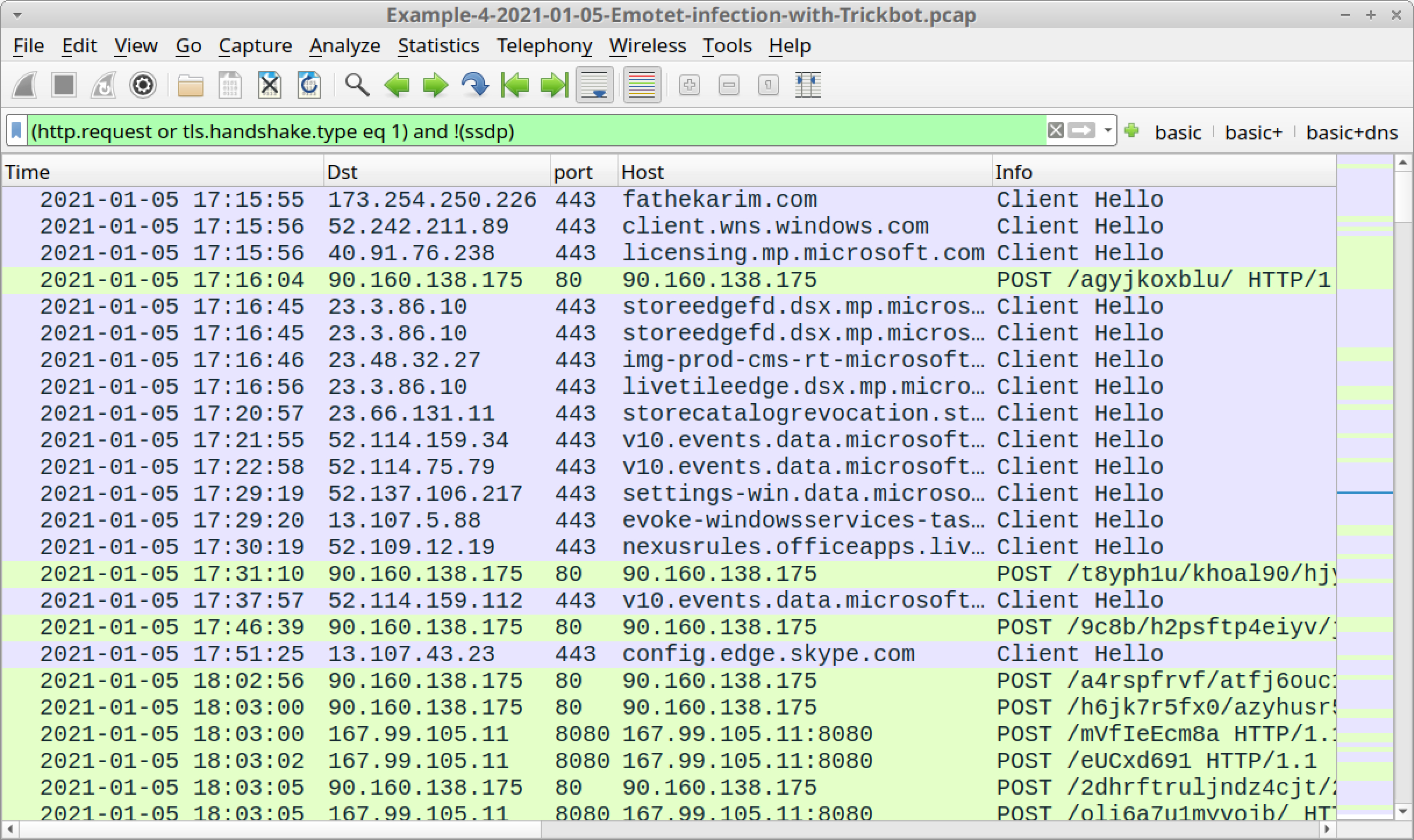 Figure 25. Traffic from the fourth pcap filtered in Wireshark using our basic web filter.