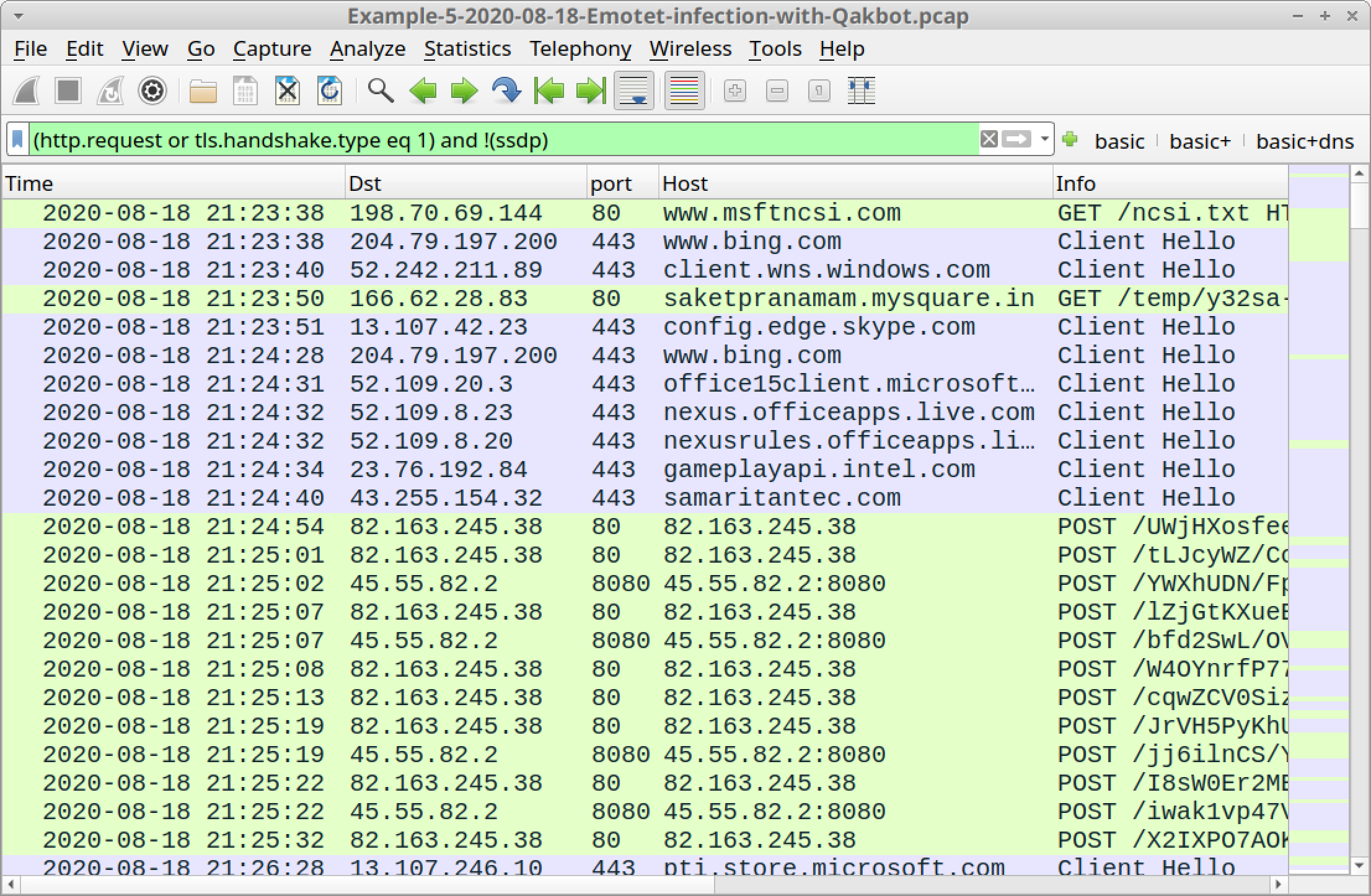 Figure 30. Traffic from the fifth pcap filtered in Wireshark using our basic web filter.