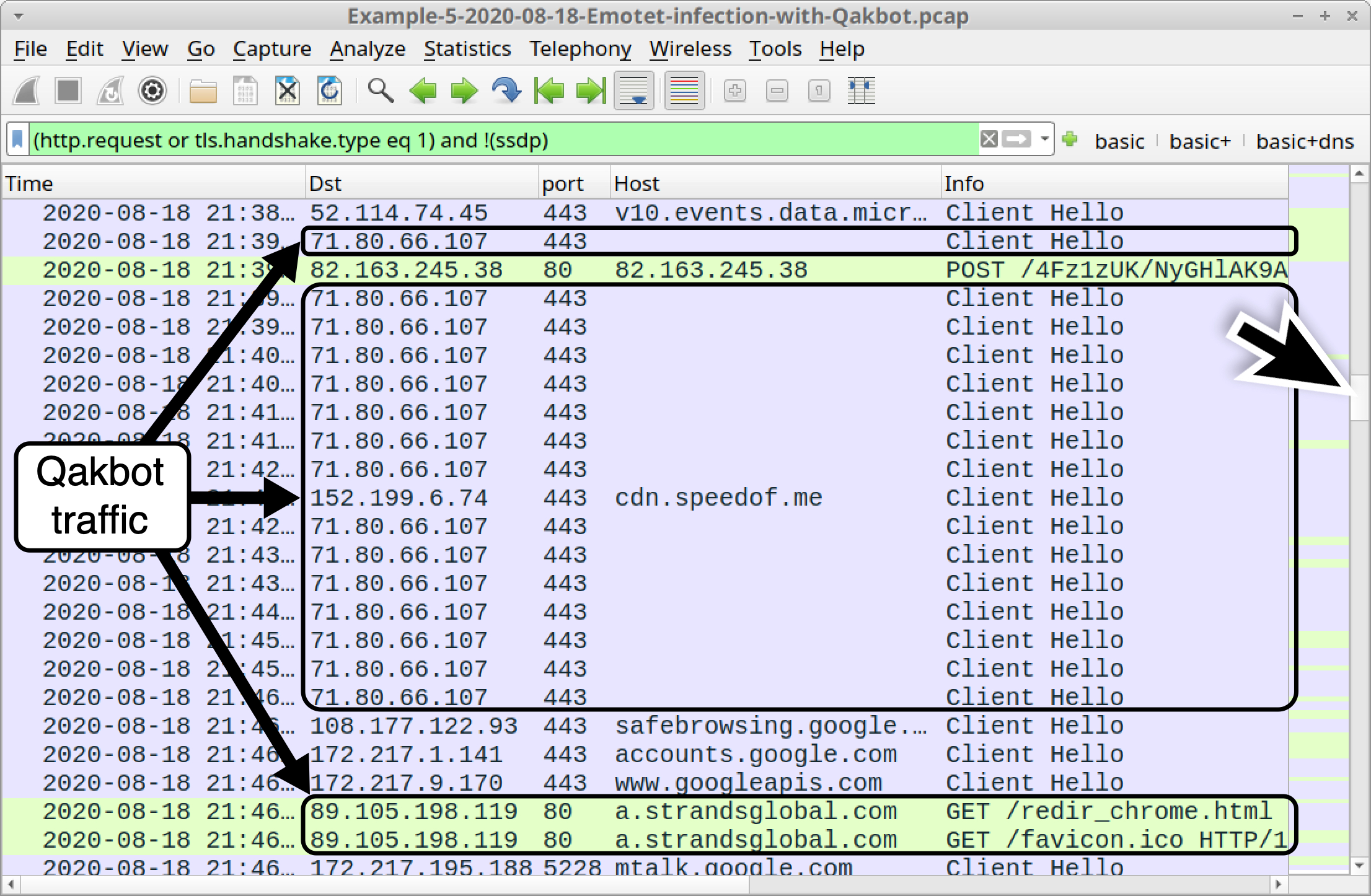 Figure 31. Scrolling down the column display to find Qakbot indicators in our fifth pcap using a basic web filter.