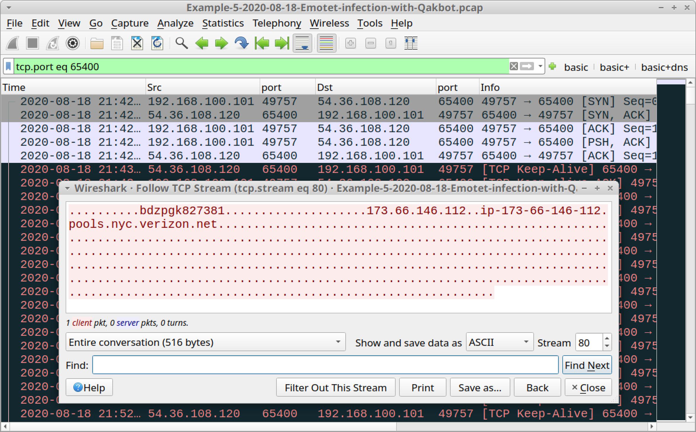 図33 65400/tcp経由のQakbotトラフィックをフィルタリングしたところ