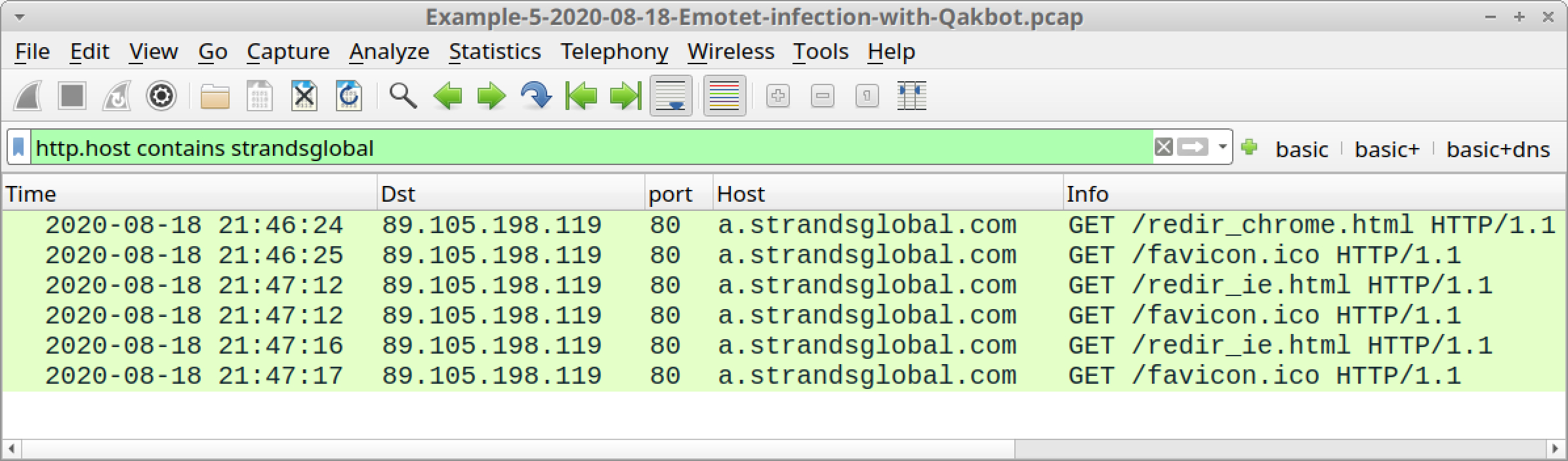 Figure 35. Filtering for traffic to a.stransglobal[.]com, typically generated by Qakbot prior to late November 2020.