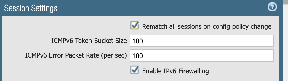 The screenshot shows session settings for enabling IPv6 Firewalling to mitigate CVE-2021-24086 and others. Note the checkbox at the bottom of the image.