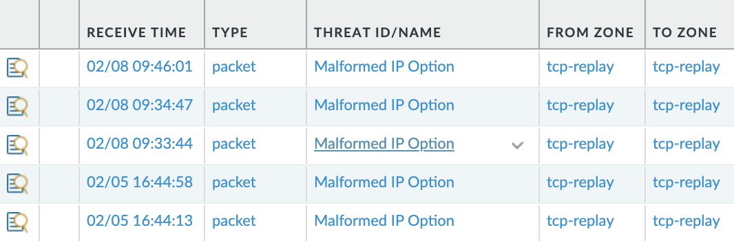 The example shows how threat logs appear in the UI for the Next-Generation Firewall. These are threat logs for the Malformed IP option.