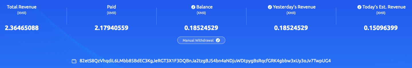 This shows the XMR total for wallet 82et in the f2pool public mining pool, pulling in only 2.3 Monero.
