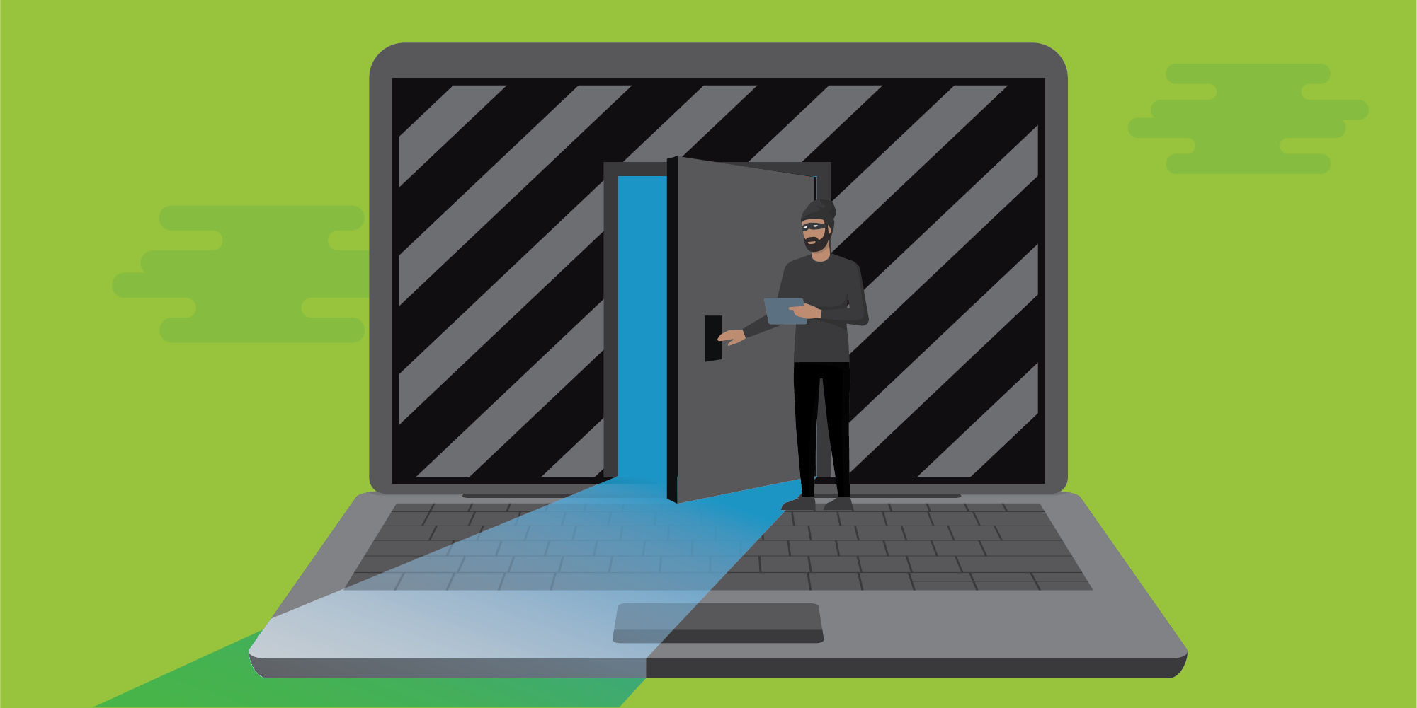 Cybercriminals, conceptualized by this image of a man illicitly opening a door into a computer, use techniques such as fast flux, described here, to evade detection and law enforcement takedowns.