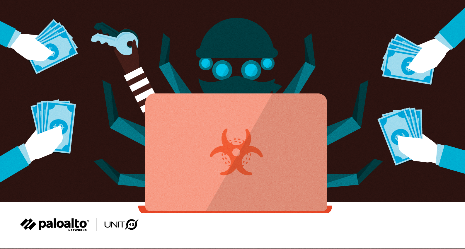 Conceptual image representing DoppelPaymer ransomware as part of the ransomware threat assessments companion to the 2021 Unit 42 Ransomware Threat Report.