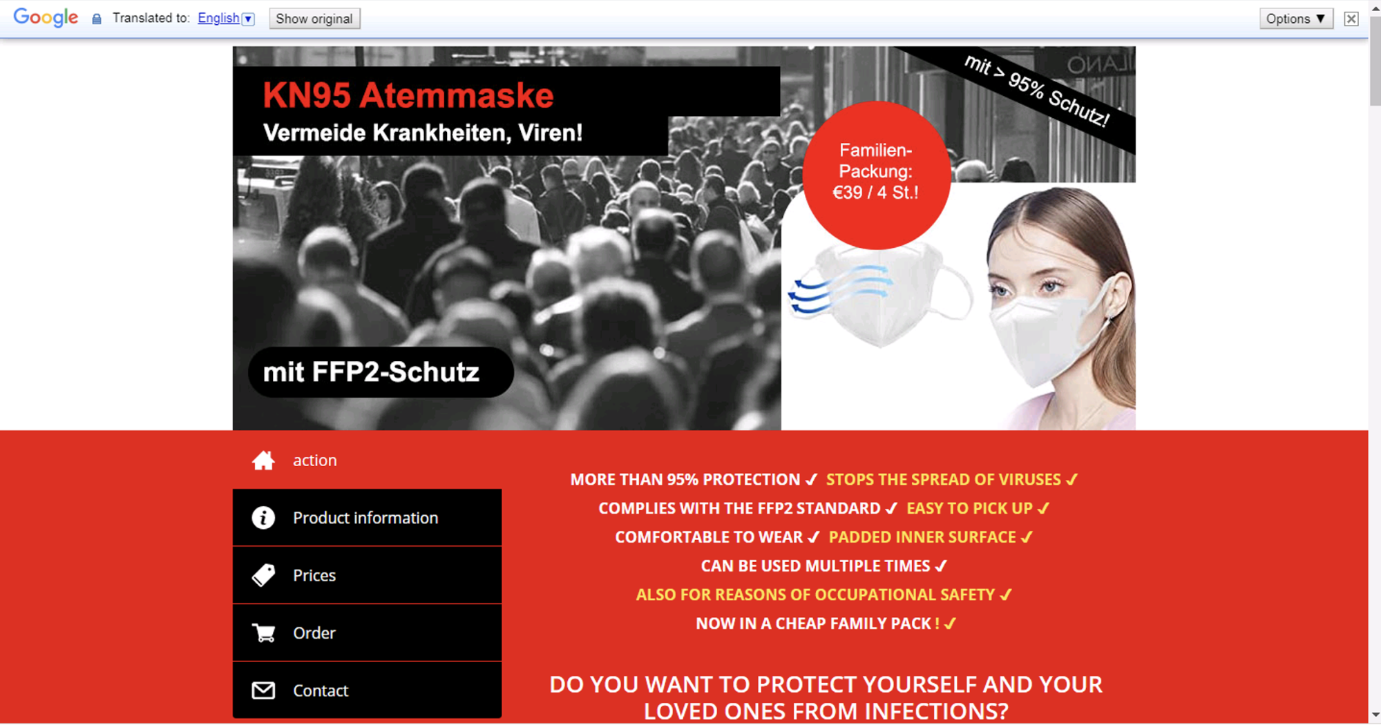 This is an example of a scam website, translated from German to English. The website purportedly offers PPE.