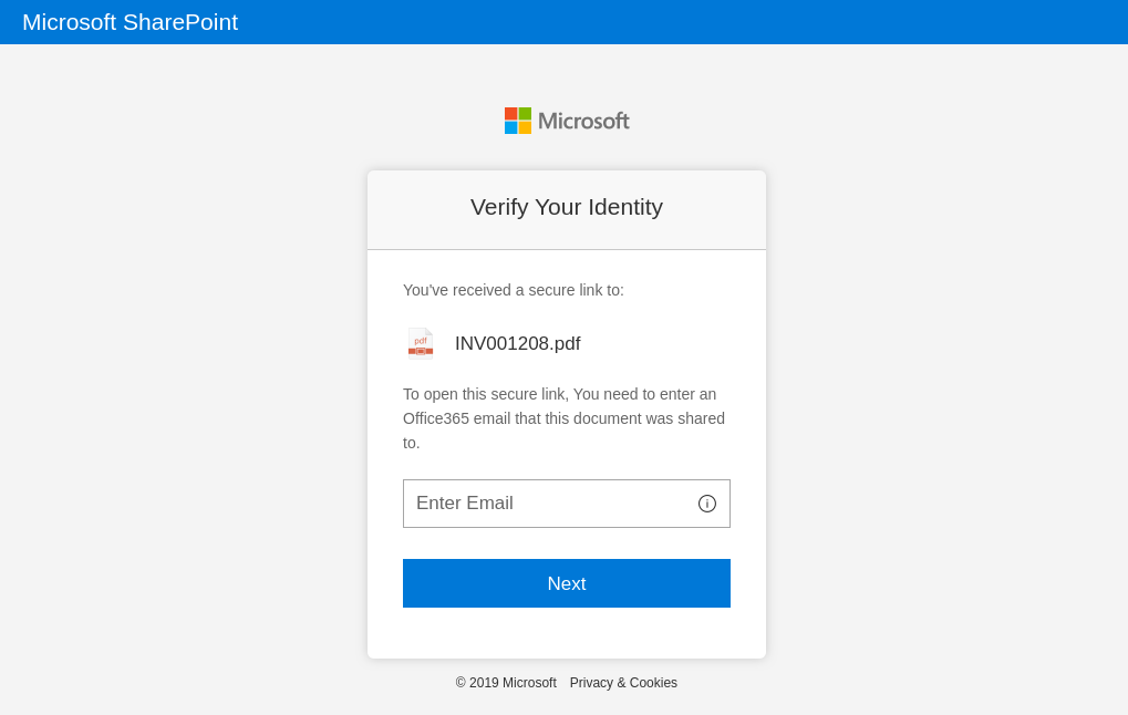A fake Microsoft Sharepoint login page that a user would reach via a link in a phishing email.