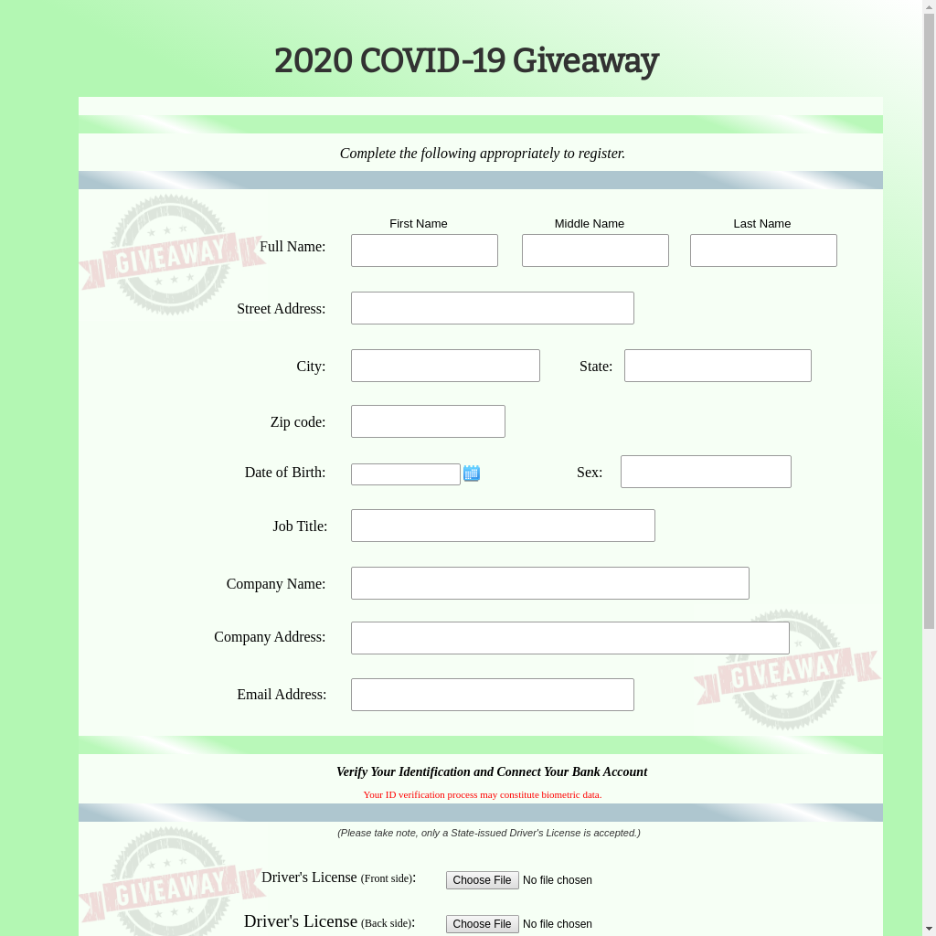 Credential stealing page related to a supposed COVID relief giveaway.