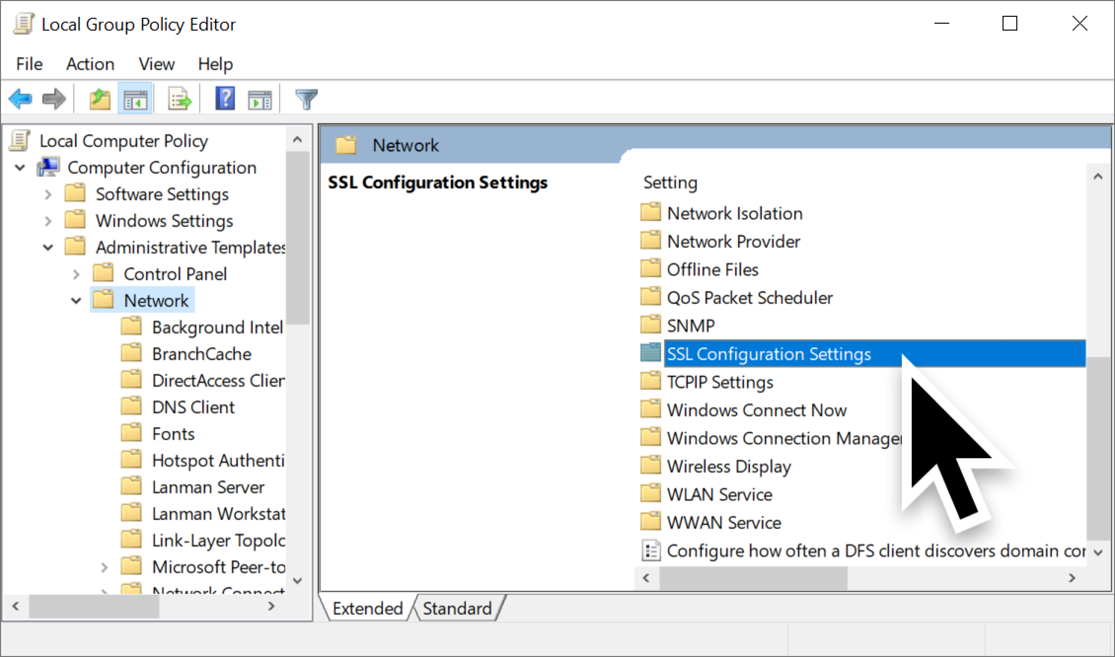 スクリーンショット内の大きい黒矢印は、ファイルシステム内の [SSL構成設定] の場所を示しています。