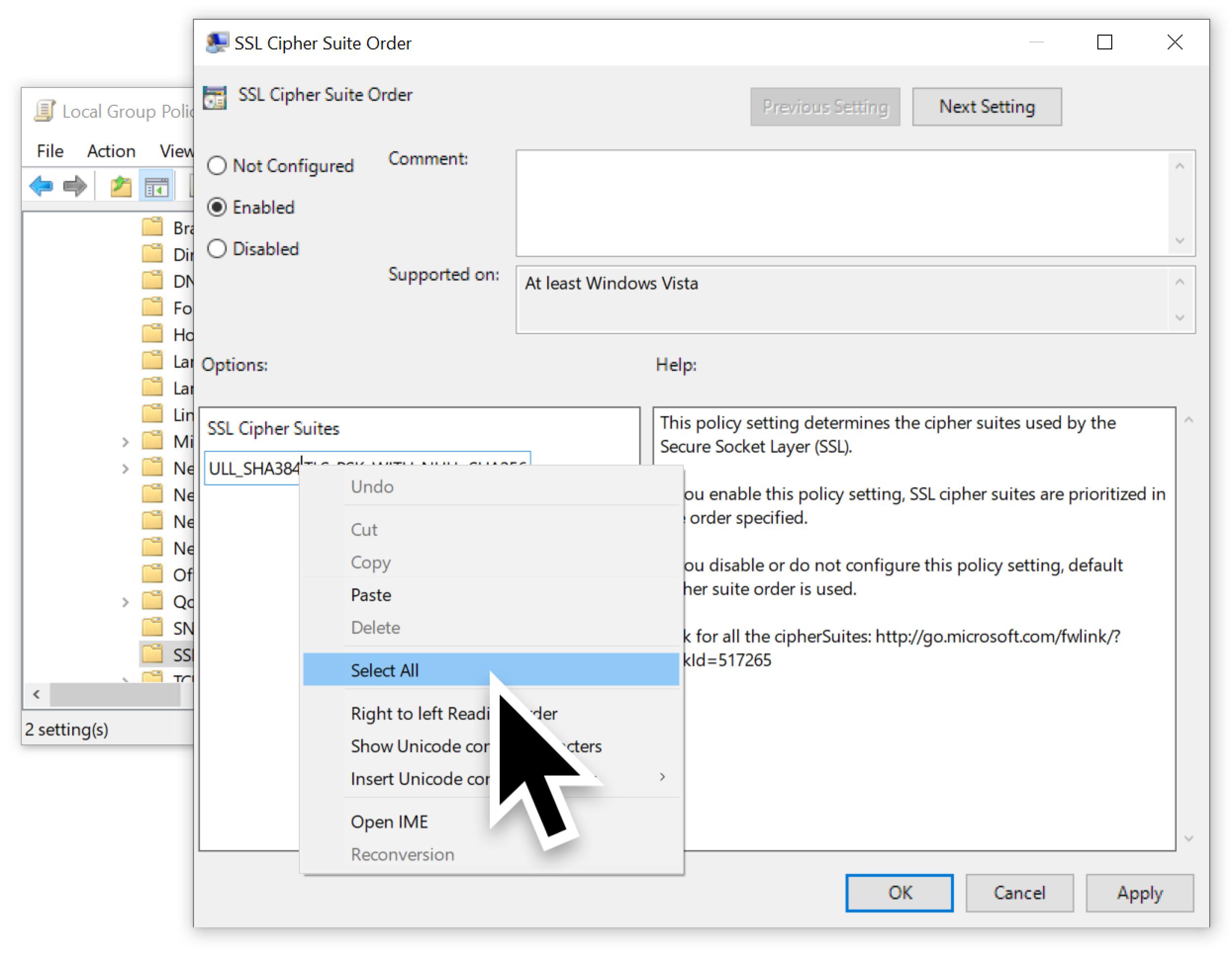 このスクリーンショットで示すとおり、次の手順で暗号リスト全体を選択している。