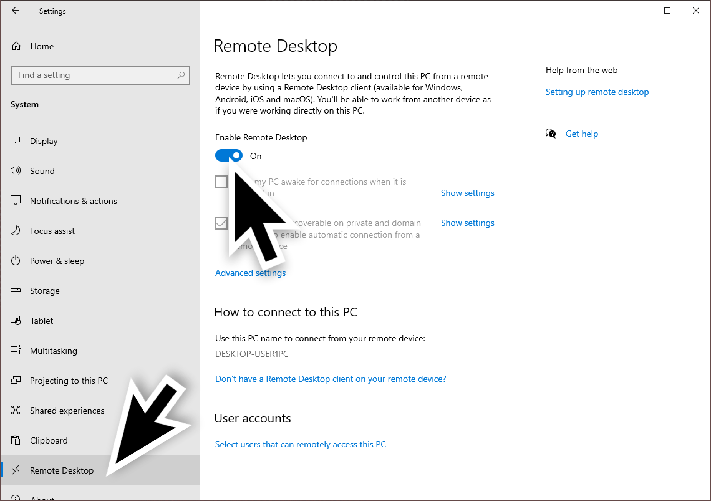 The large black arrows show where to select Remote Desktop and where to click the switch for Enable Remote Desktop.