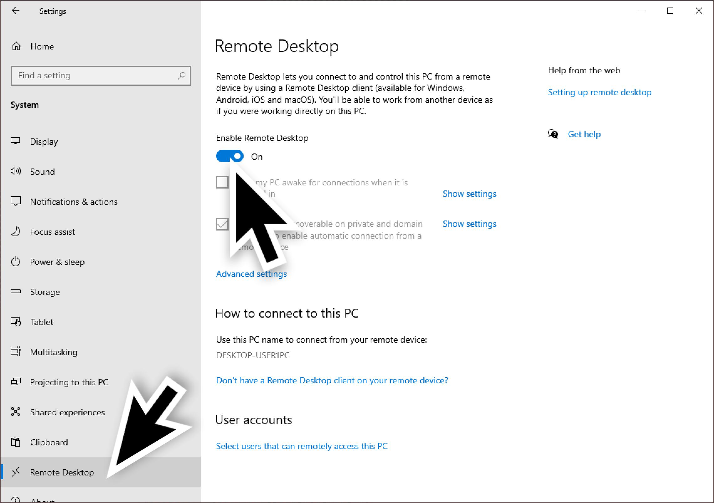 大きな黒矢印は、リモートデスクトップを選択する場所と、リモートデスクトップを有効にするスイッチをクリックする場所を示しています。