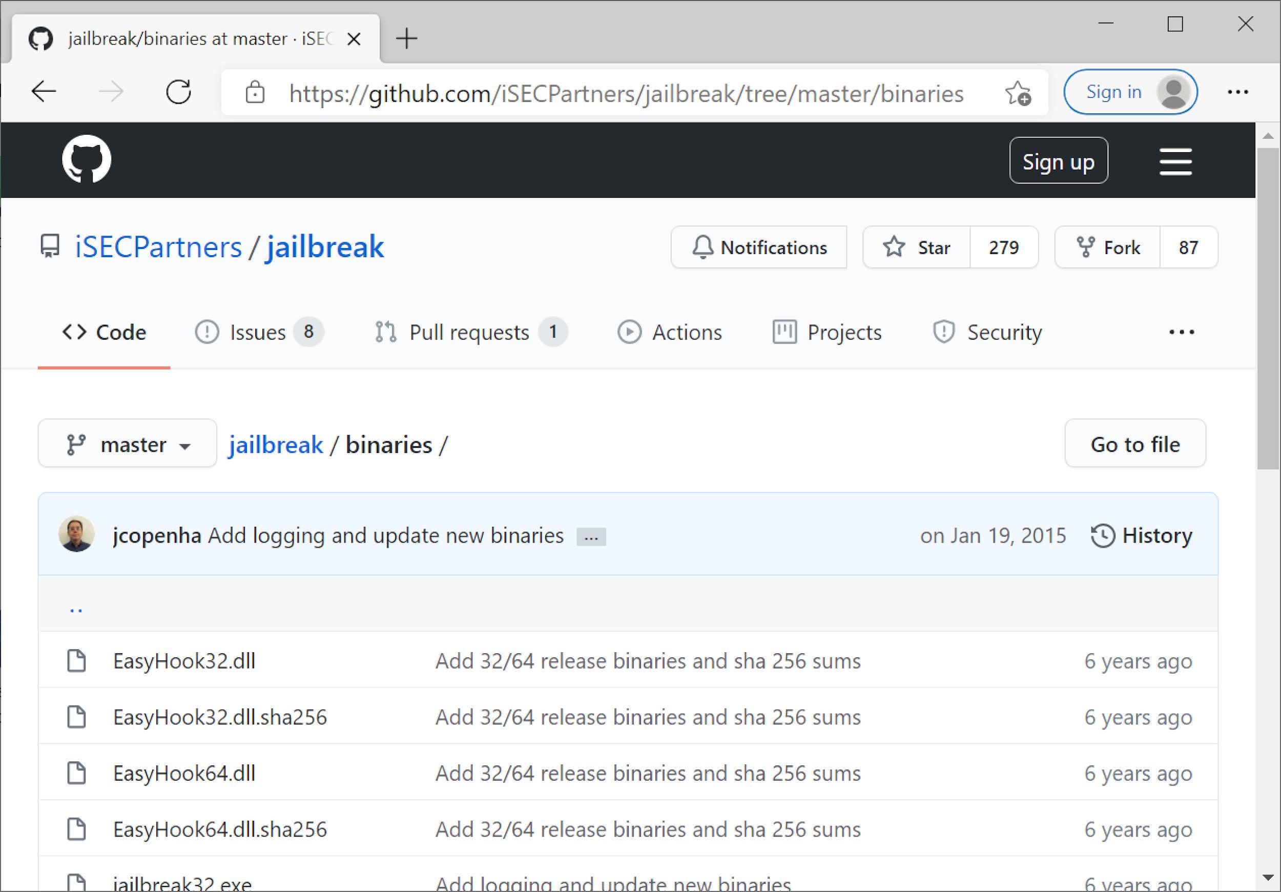 3月4日に撮影されたJailbreak GitHubページのスクリーンショット。ここでは、ダウンロードしたJailbreakバイナリを示しています。