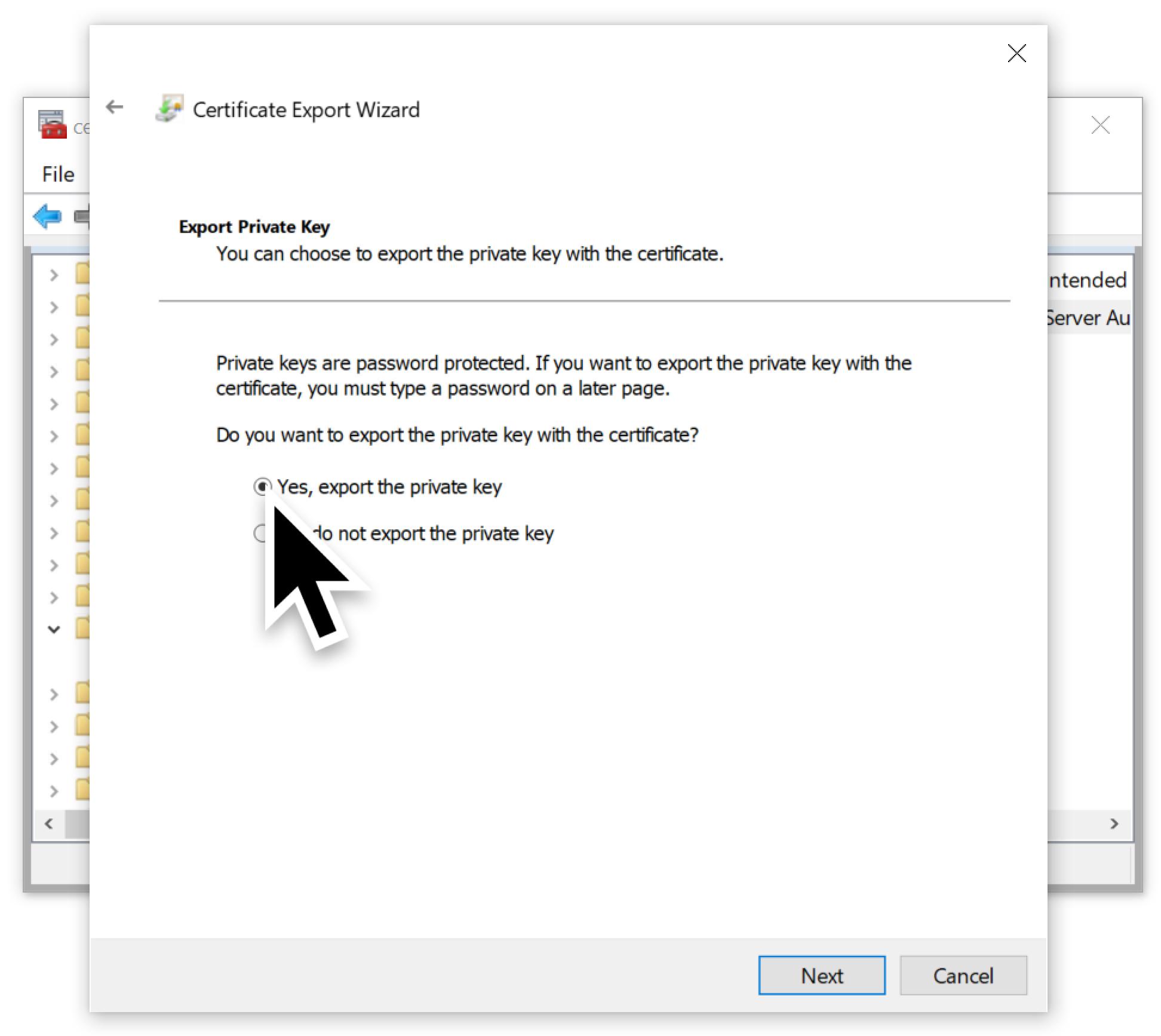 スクリーンショットには次のように書かれています。「秘密キーのエクスポート: 秘密キーを証明書と一緒にエクスポートすることができます。秘密キーはパスワードで保護されています。秘密キーを証明書と一緒にエクスポートする場合は、パスワードを入力する必要があります。証明書と一緒に秘密キーをエクスポートしますか?」大きな黒矢印は、秘密鍵が証明書と一緒にエクスポートされるようにするために何を選択すべきかを示しています。