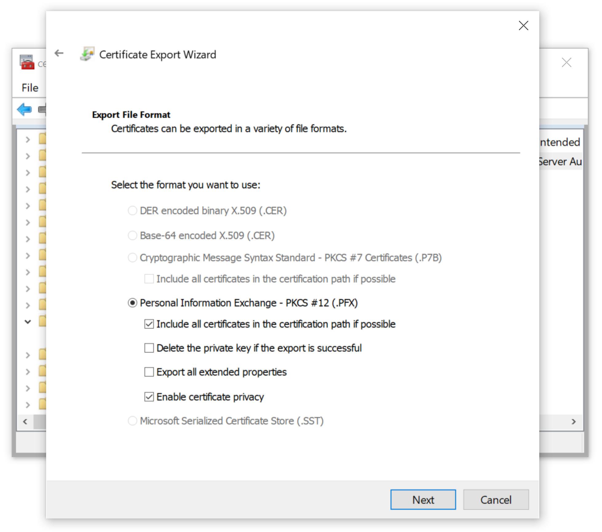 WiresharkでのRDPトラフィックの復号に関する本講座で使用されたホストの場合、ここに示されているように、証明書をPKCS#12(.PFX)ファイルとしてのみエクスポートできた