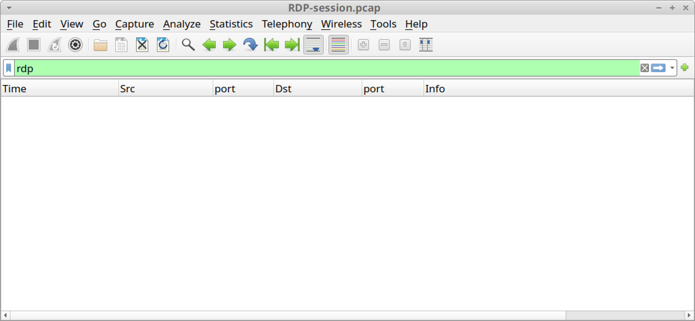 Because RDP traffic was encrypted, we see a blank column display, as shown, when filtering for RDP in our pcap.
