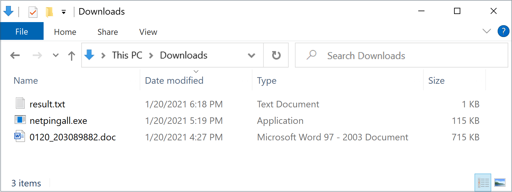 A week later on Jan. 20, a new sample of the same tool was named netpingall.exe, as shown here.