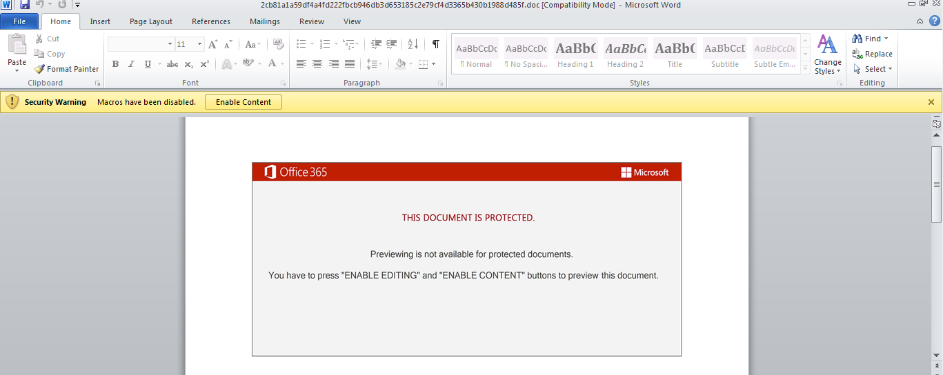 Figure 1. This malicious Word document contains an embedded macro that initiates an Emotet attack chain.