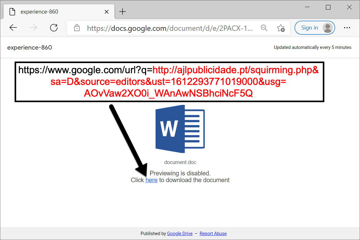 This malicious Google Drive URL displays a web page with a link to download a Word document.