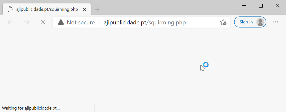 After clicking a link in a fake DocuSign email, the web browser loads a malicious URL, as shown here.