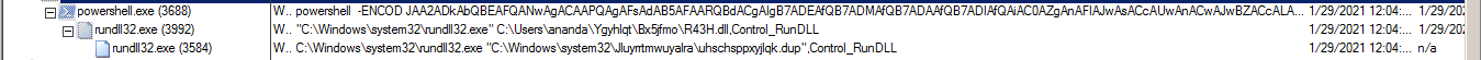 Figure 15. PowerShell.exe and rundll32.exe processes execution.