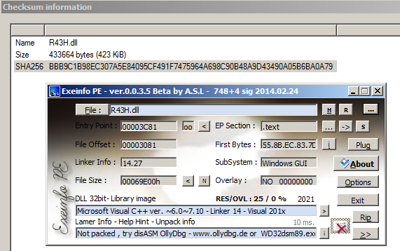 Figure 16. ExeInfoPE file identification on downloaded DLL file.