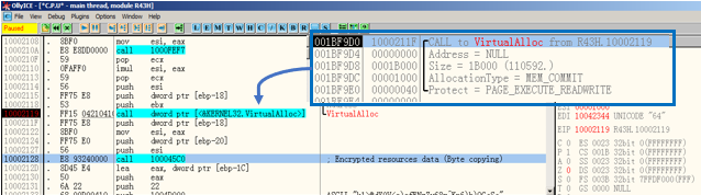 Figure 18. VirtualAlloc() and byte-copying (call 100045c0) function.