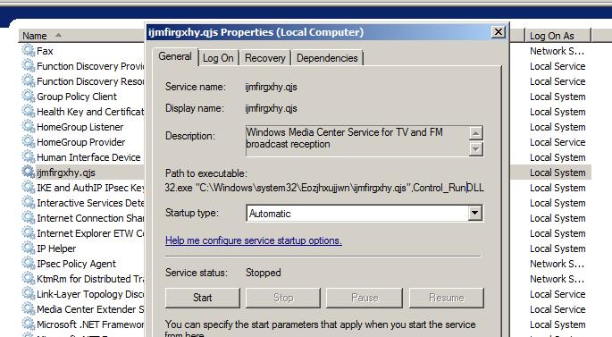 Figure 21. Installation of a new Windows service.