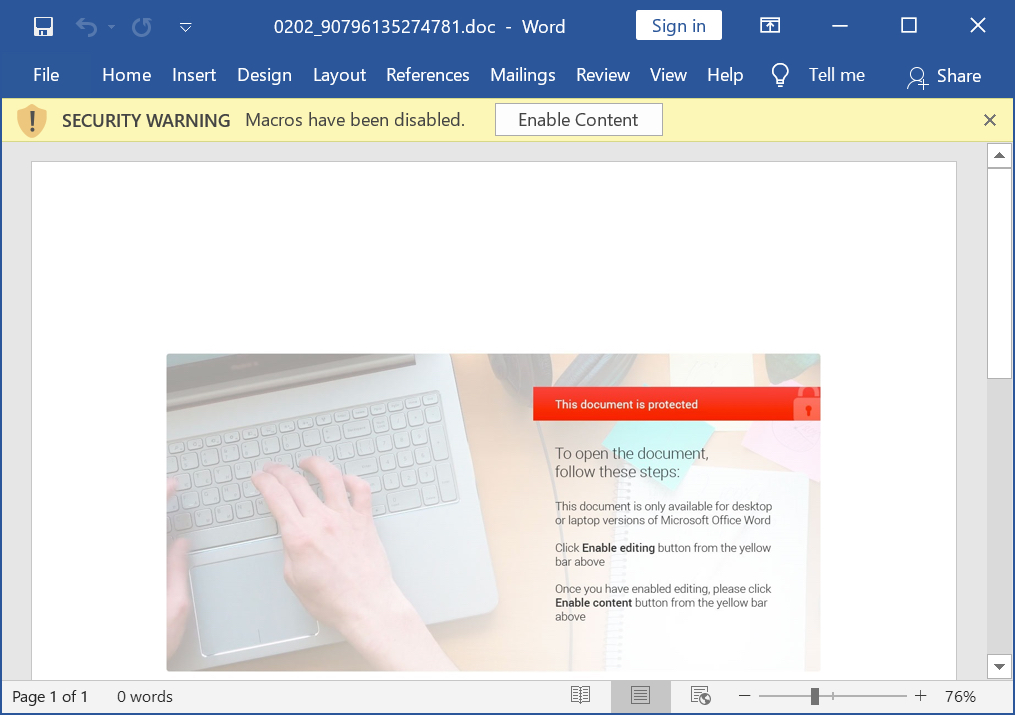 Word documents originating from DocuSign-themed malspam can include a macro for Hancitor, which the malicious email instructs users to enable with messages such as the one shown here.