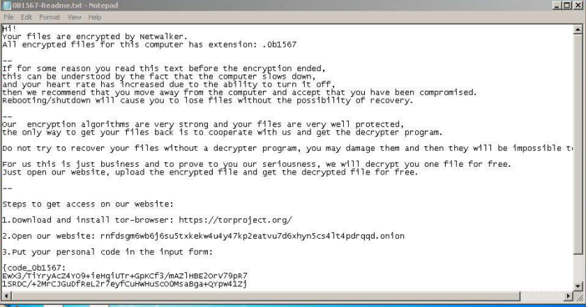 図1 NetWalkerの身代金メモ(出典: Any.Run)