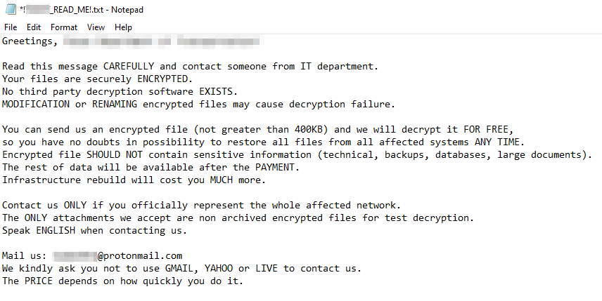 Figure 1. Screenshot of Defray777 ransom note.