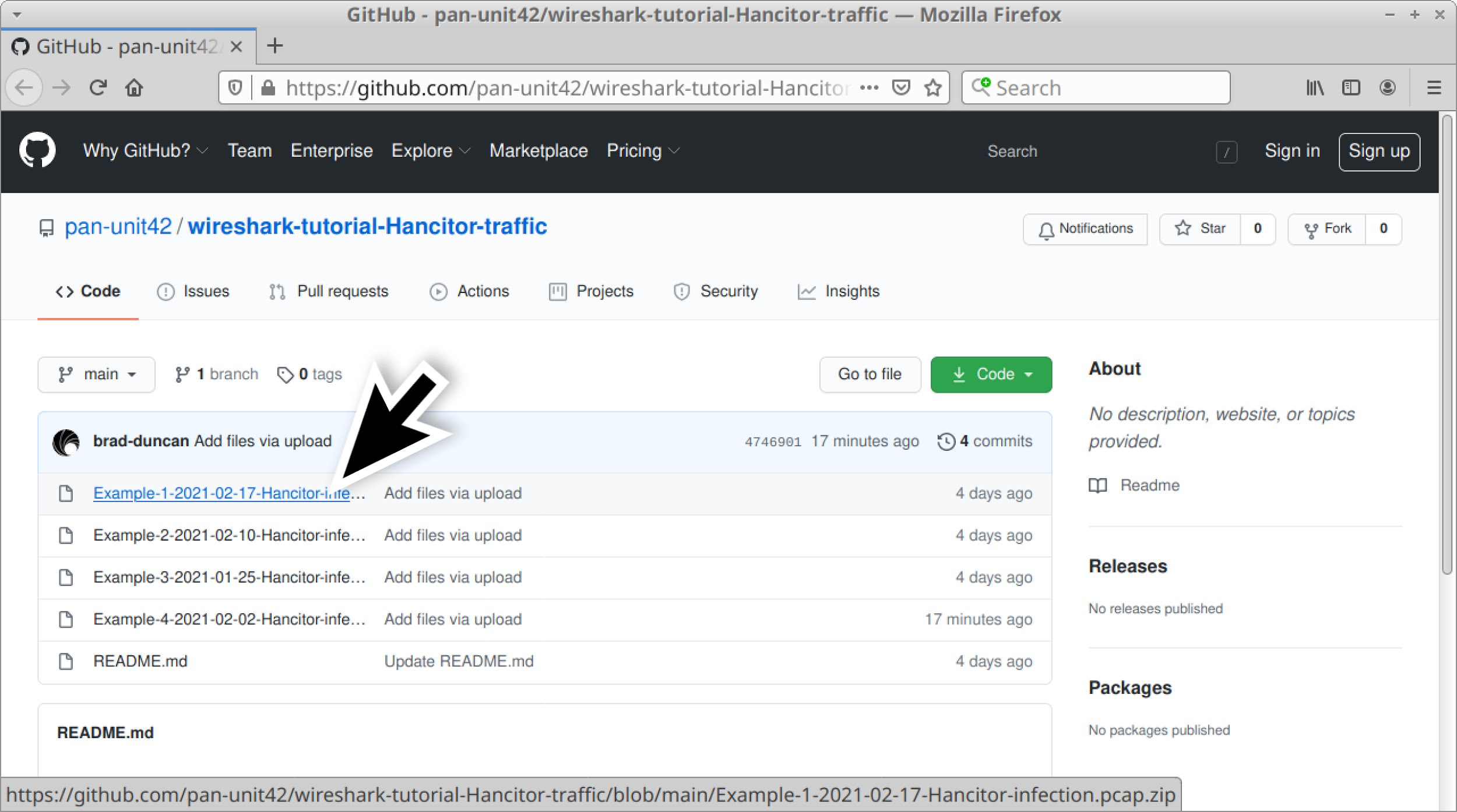 The large black arrow indicates where to click to download one of the four ZIP archives used with this Wireshark tutorial on Hancitor infections.